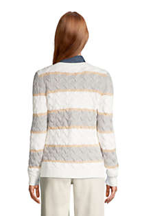 Women's Cotton Drifter V-neck Sweater - Stripe, Back