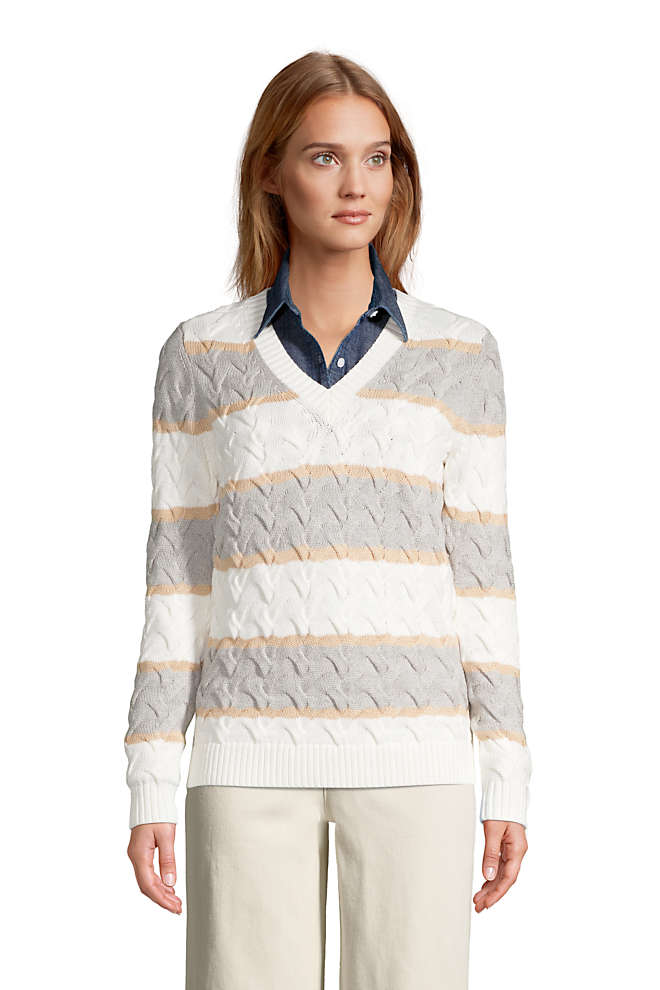 Women's Cotton Drifter V-neck Sweater - Stripe, Front