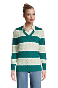 Women's Tall Cotton Drifter V-neck Sweater - Stripe