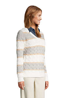 Women's Cotton Drifter V-neck Sweater - Stripe, alternative image