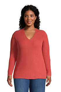 Women's Plus Size Cotton Drifter Shaker V-neck Sweater, Front