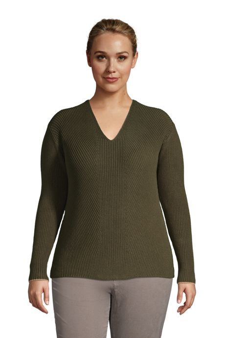 Women's Plus Size Cotton Drifter Shaker V-neck Sweater
