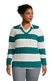 Women's Plus Size Cotton Drifter V-neck Sweater - Stripe