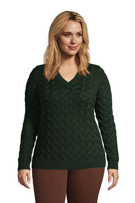 Women's Plus Size Cotton Drifter V-Neck Sweater