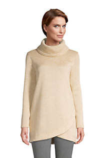 Women's Petite Sweater Fleece Cowl Neck Tunic Pullover Top, Front