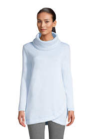 Women's Petite Sweater Fleece Cowl Neck Tunic Pullover Top
