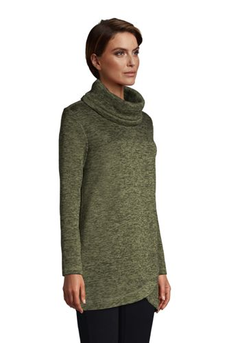 Women's Sweater Fleece Cowl Neck Tunic Pullover Top
