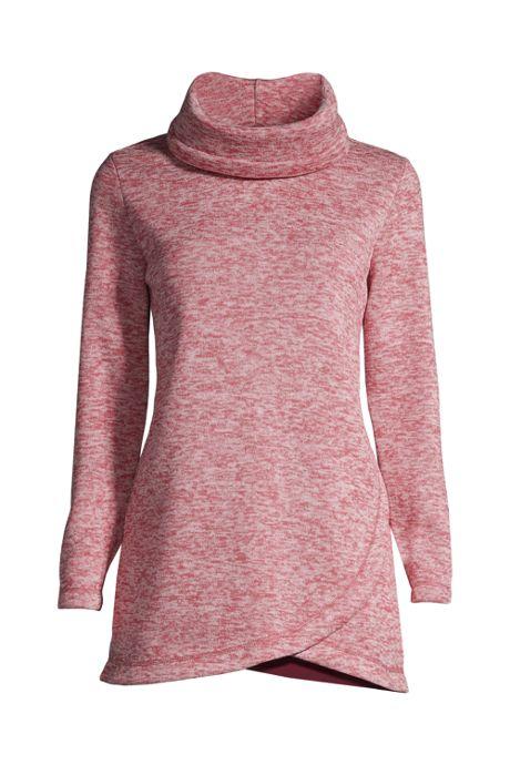 Women's Sweater Fleece Cowl Neck Tunic Pullover Top