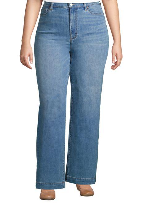 Women's Plus Size High Rise Wide Leg Blue Jeans