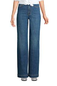 Women's Petite High Rise Wide Leg Blue Jeans