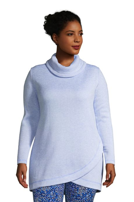 Women's Plus Size Sweater Fleece Cowl Neck Tunic Pullover Top