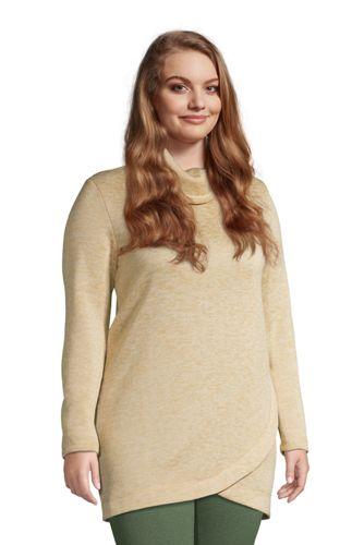 Women's Plus Size Sweater Fleece Cowl Neck Tunic Pullover Top