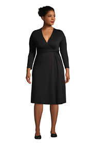 Women's Plus Size 3/4 Sleeve Knot Front Fit and Flare Dress