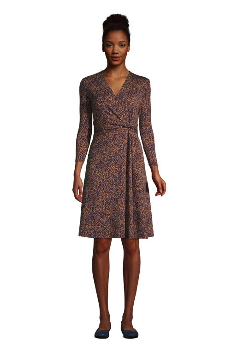 Women's Petite 3/4 Sleeve Knot Front Fit and Flare Dress