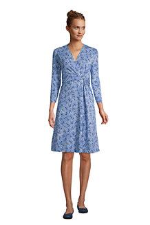 Gemustertes Jersey-Wickelkleid mit 3/4-Ärmeln für Damen