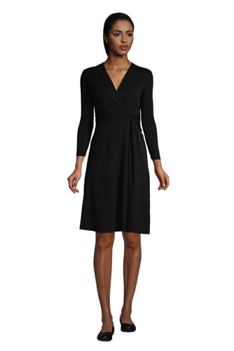 Robe Cache-Coeur Manches 3/4 Noeud sur Taille, Femme Grande Taille