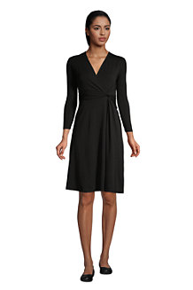 Robe Cache-Coeur Manches 3/4 Noeud sur Taille, Femme