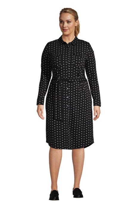Women's Plus Size Cotton Modal Jersey Button Front Dress