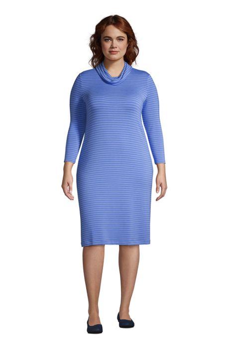 Women's Plus Size Super Soft 3/4 Sleeve Cowl Neck Dress