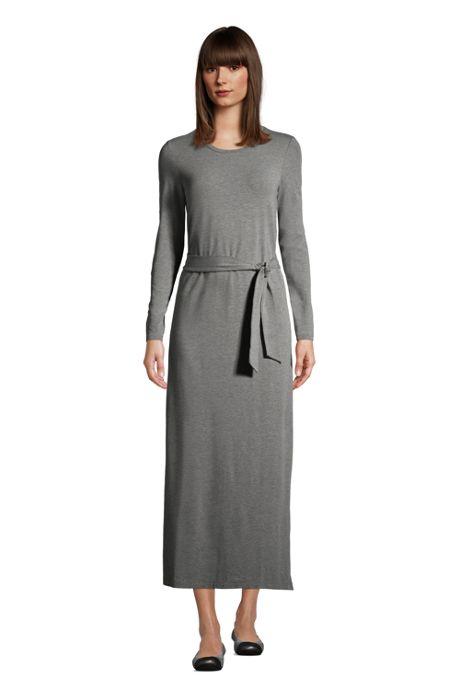 Women's Cotton Modal Long Sleeve Belted Maxi Dress