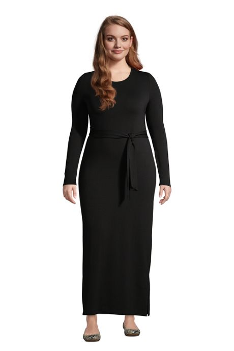 Women's Plus Size Cotton Modal Long Sleeve Belted Maxi Dress