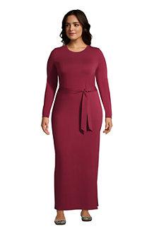 Jersey-Maxikleid mit Bindegürtel im Baumwollmix für Damen
