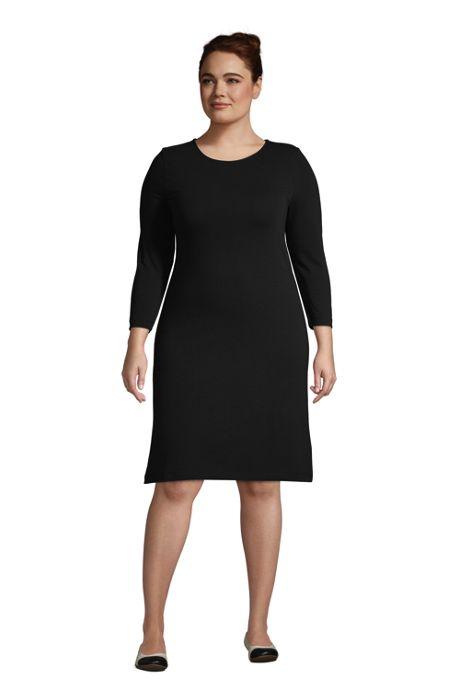 Women's Plus Size Cotton Blend 3/4 Sleeve T-Shirt Dress