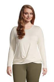 Women's Plus Size Super Soft Long Sleeve Twist Hem Top
