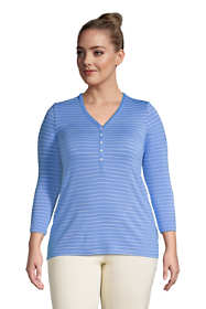 Women's Plus Size Super Soft 3/4 Sleeve Henley Top
