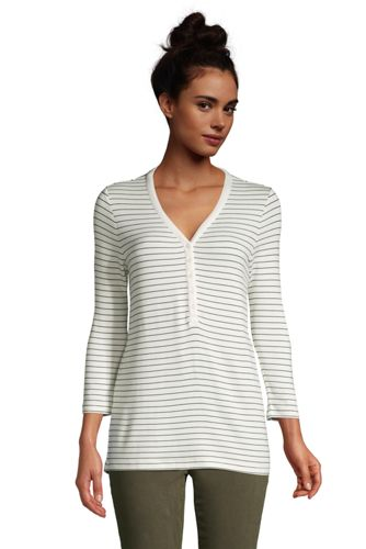 T-Shirt Henley Super Doux Manches 3/4, Femme Grande Taille
