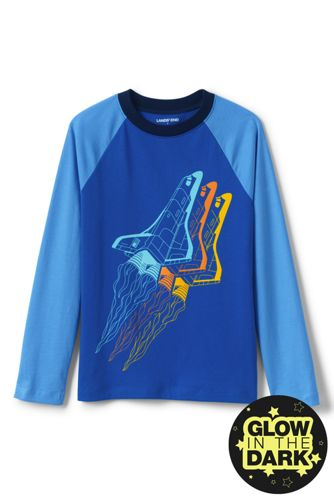 Little Boys' Glow in the Dark Raglan Graphic T-Shirt