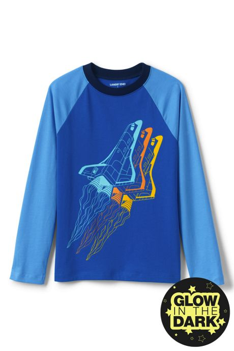 Boys Husky Long Sleeve Glow in the Dark Raglan Graphic Tee