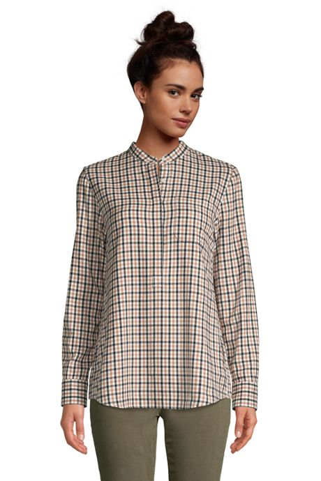 Women's Tall Flannel Long Sleeve Tunic Top