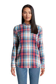 Women's Tall Flannel Long Sleeve Tunic Top