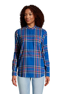Women's Long Sleeve Flannel Popover Tunic
