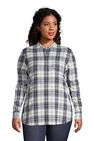 Women's Plus Size Flannel Long Sleeve Tunic Top