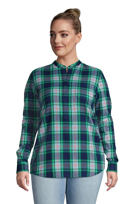 Women's Plus Size Flannel Long Sleeve Tunic Top