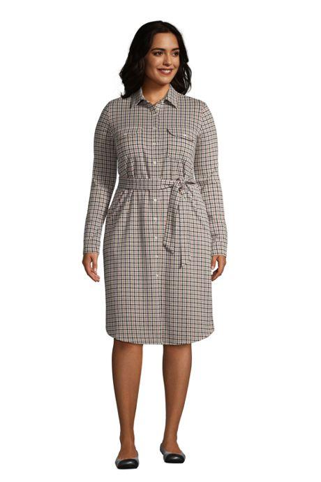 Women's Plus Size Sport Knit Shirt Dress - Jacquard