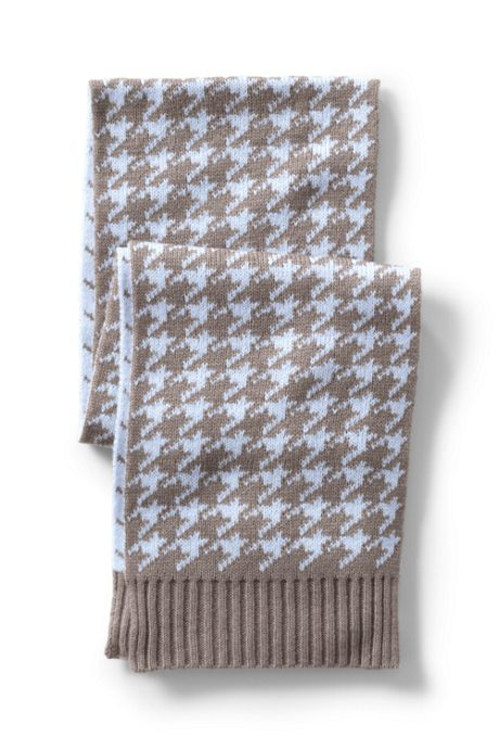 Women's Lightweight Knit Winter Houndstooth Scarf