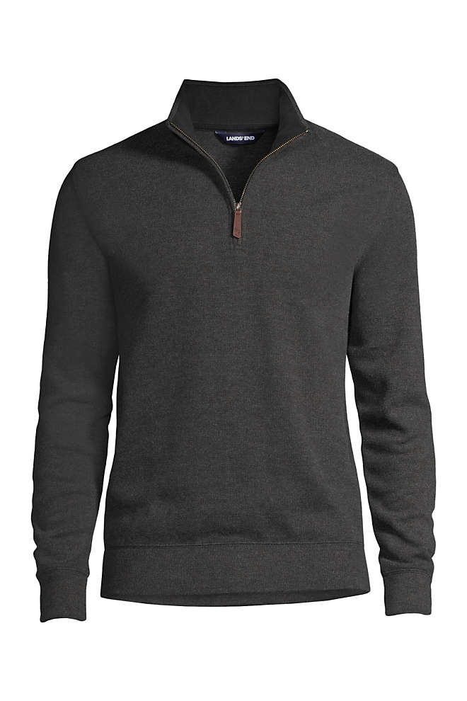 Men's Tailored Fit Heather Bedford Rib Quarter Zip Sweater, Front