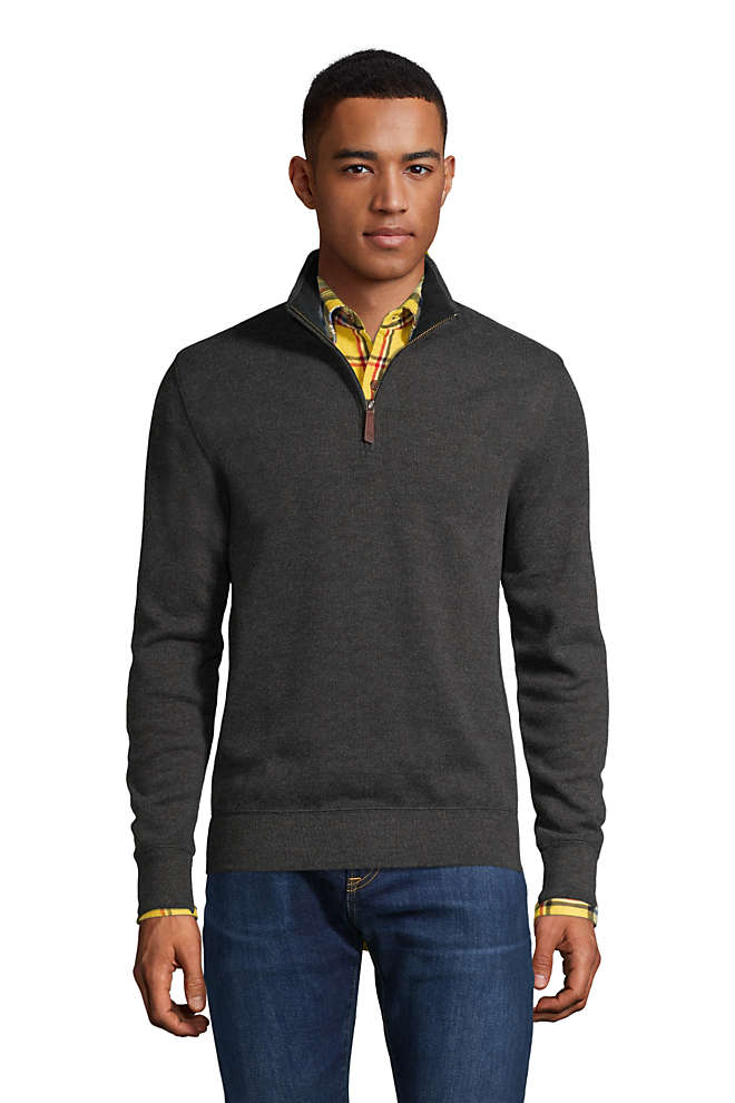 Men's Bedford Rib Heather Quarter Zip Sweater, Front
