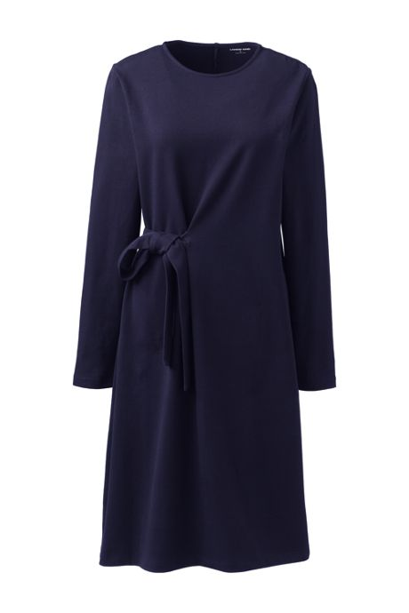 Women's Knit Long Sleeve Wrap Detail Dress