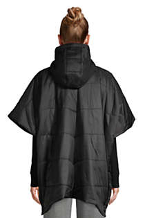 Women's Insulated Quilted Packable Hooded Cape, Back