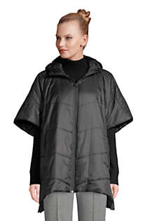 Women's Insulated Quilted Packable Hooded Cape, Front