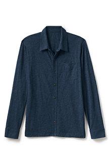 Langarm-Shirtjacke aus Slub-Jersey für Herren, Classic Fit