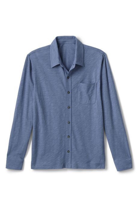 Men's Long Sleeve Slub Button Down Shirt