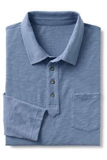 Men's Slub Long Sleeve Polo Shirt with Pocket