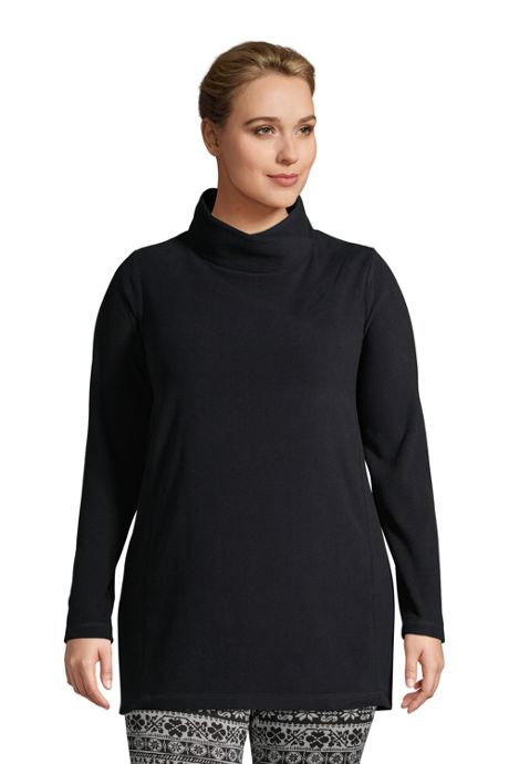Women's Plus Size Fleece Tunic Pullover Top