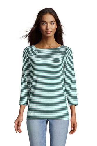 T-Shirt en Coton Modal Stretch Manches 3/4, Femme Stature Standard