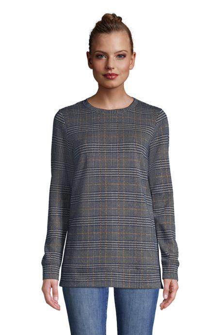 Women's Long Sleeve Sport Knit Jacquard Sweatshirt Tunic